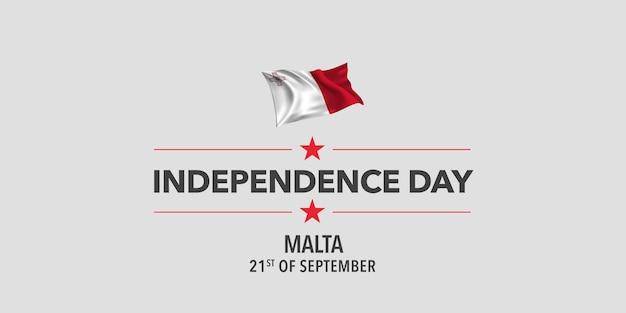 Ilustração em vetor bandeira cartão dia da independência de malta