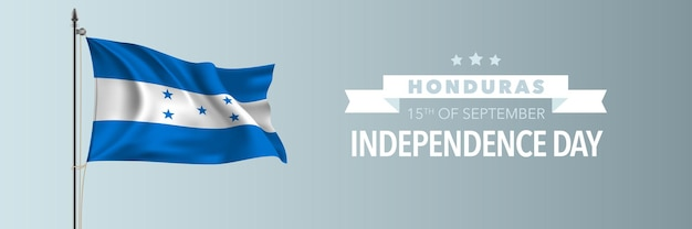 Ilustração em vetor bandeira cartão feliz dia da independência de honduras