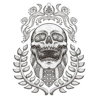 Ilustração em vetor bandeira eua rasgado de crânio