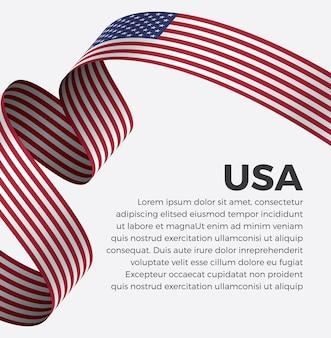 Ilustração em vetor bandeira fita dos eua em um fundo branco premium vector