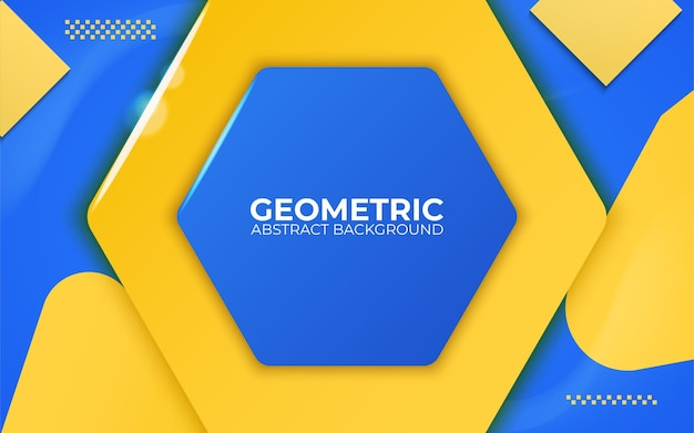 Ilustração em vetor banner 3d abstrato azul e amarelo fundo geométrico