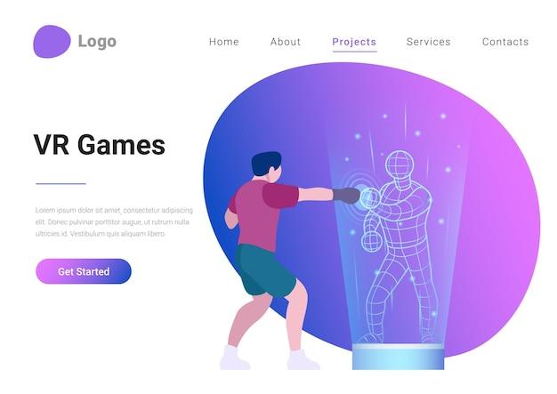Ilustração em vetor banner de página de destino em estilo simples de jogos de realidade virtual