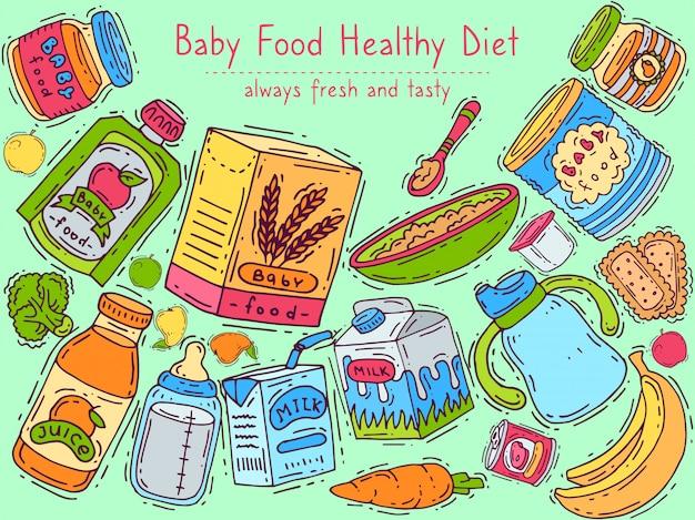 Ilustração em vetor banner dieta bebê saudável.