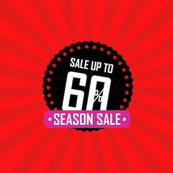 Ilustração em vetor banner temporada venda. venda com até 60 por cento de desconto