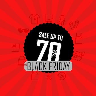 Ilustração em vetor banner temporada venda. venda com até 70% de desconto. liquidação da black friday