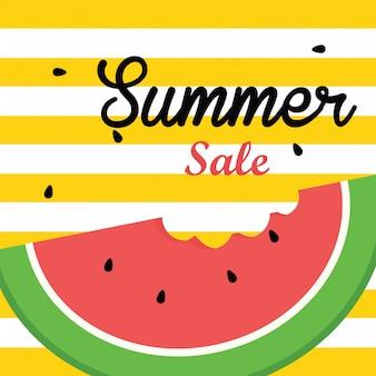 Ilustração em vetor banner venda de verão, fatia de melancia