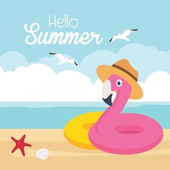 Ilustração em vetor banner venda verão. flamingo na praia