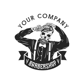 Ilustração em vetor barbearia homem rico de crânio
