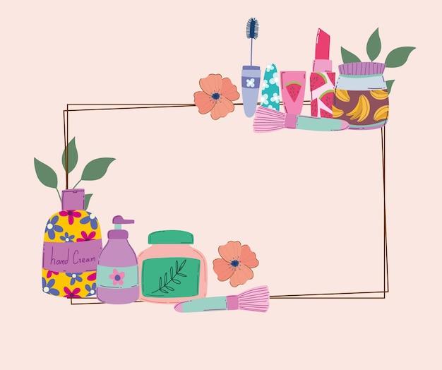 Ilustração em vetor beleza maquiagem creme loção para as mãos rímel batom escova decoração floral