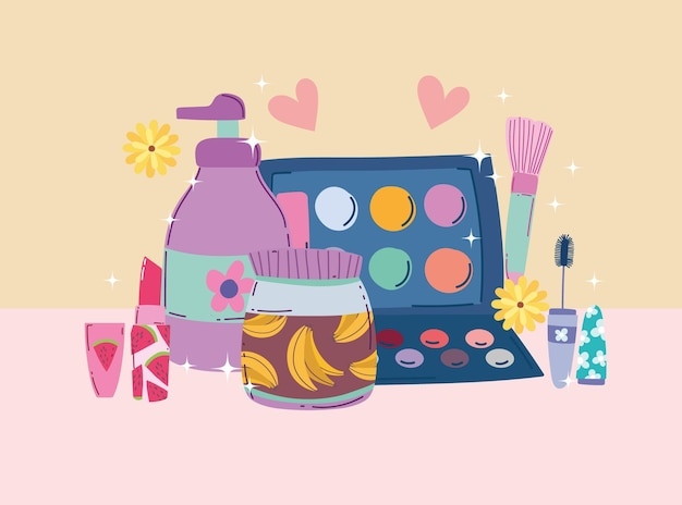 Ilustração em vetor beleza maquiagem paleta sombra rímel batom creme e loção corporal