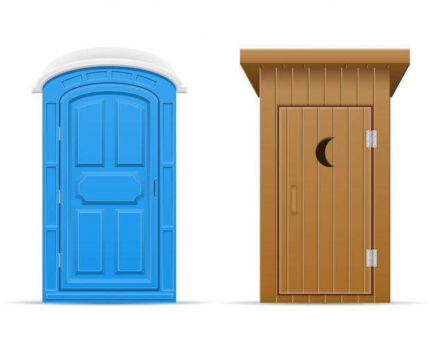 Ilustração em vetor bio e ao ar livre de toalete de madeira