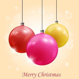 Ilustração em vetor bolas coloridas de decoração de natal