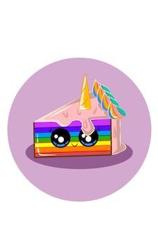 Ilustração em vetor bolo arco-íris unicórnio