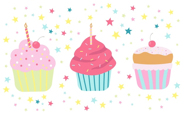 Ilustração em vetor bolo fofo de aniversário