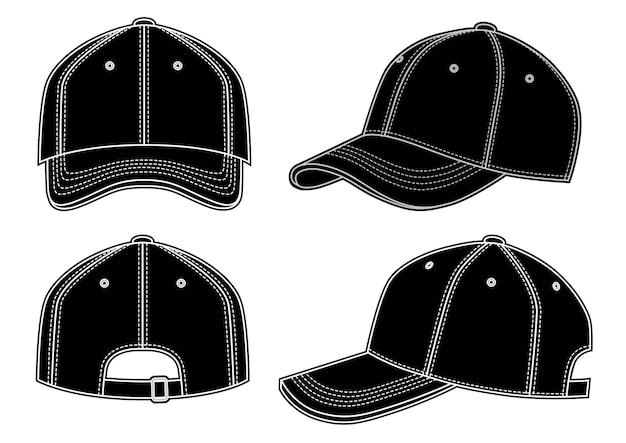 Ilustração em vetor boné de beisebol preto em vistas de branco, frontal, traseira, laterais, objeto isolado