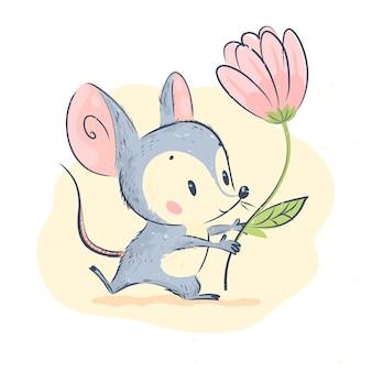 Ilustração em vetor bonita do pequeno personagem de rato cinza segurar o carrinho de flores grande tulipa rosa isolado no fundo branco. estilo de artesanato desenhado à mão. bom para cartão postal, cartão de aniversário, impressão infantil, berçário