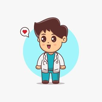 Ilustração em vetor bonito dos desenhos animados do menino médico. personagem de desenho animado kawaii chibi. médico kawaii usa uniforme e estetoscópio