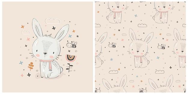 Ilustração em vetor bonito e desenhada à mão de coelho branco pode ser usada para design de camisa de crianças ou bebês