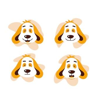 Ilustração em vetor bonito expressão cão quatro cara