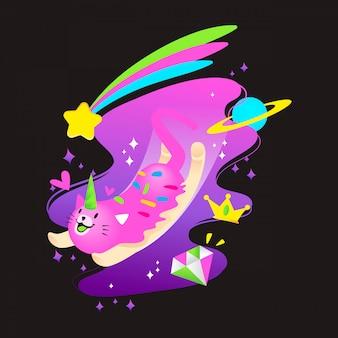 Ilustração em vetor bonito gato unicórnio cósmico
