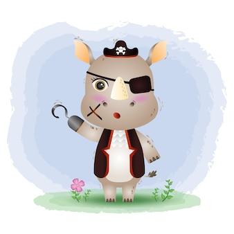 Ilustração em vetor bonito piratas rinoceronte