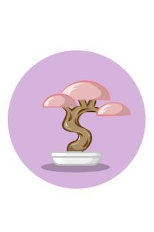 Ilustração em vetor bonsai rosa