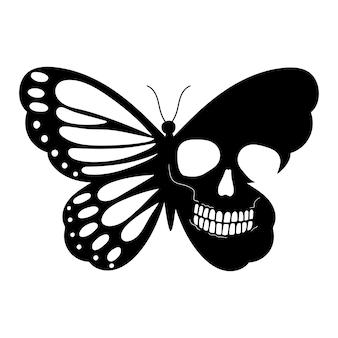 Ilustração em vetor borboleta caveira halloween