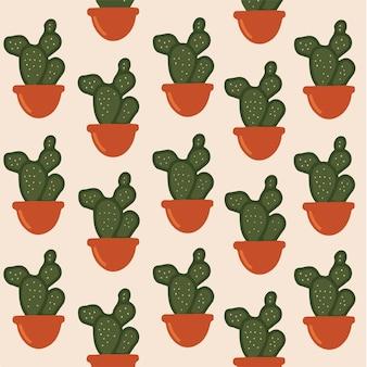Ilustração em vetor botânico de fundo de padrão de cacto