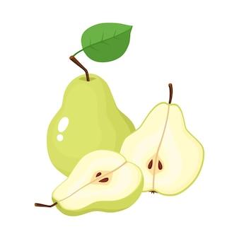Ilustração em vetor brilhante de metade colorida e inteira de pêra suculenta. peras frescas dos desenhos animados em fundo branco.