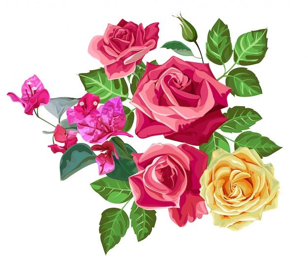 Ilustração em vetor buquê rosa