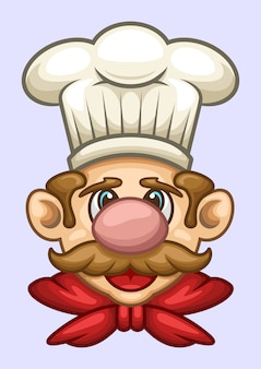 Ilustração em vetor cabeça cartoon chef