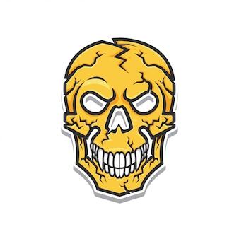 Ilustração em vetor cabeça crânio amarelo