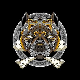 Ilustração em vetor cabeça de bulldog desenhada por mascote