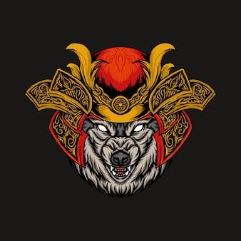Ilustração em vetor cabeça de lobo samurai