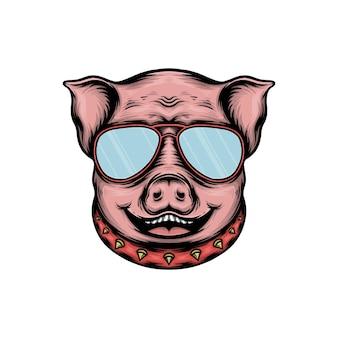 Ilustração em vetor cabeça de porco fofa