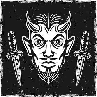 Ilustração em vetor cabeça do diabo e duas facas rituais em fundo escuro com texturas grunge e bordas arranhadas