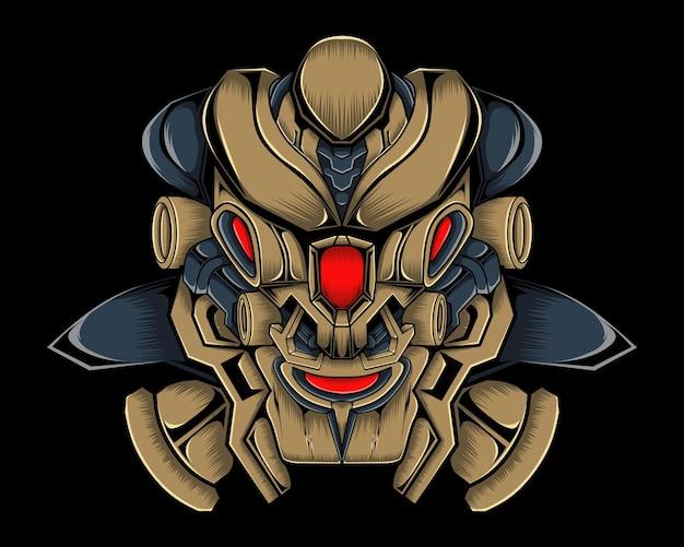 Ilustração em vetor cabeça leão ciborgue