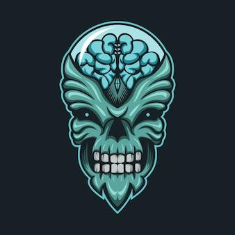 Ilustração em vetor cabeça monstro alienígena