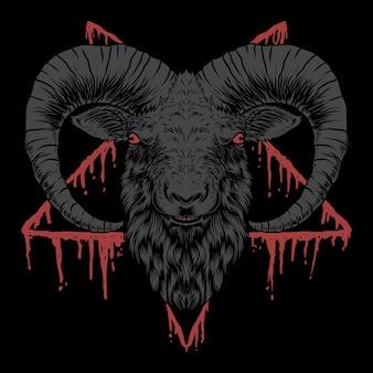 Ilustração em vetor cabeça satânica de baphomet