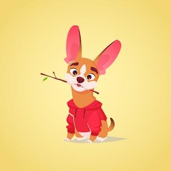 Ilustração em vetor cachorro bonito personagem. estilo de desenho animado. filhote de bulldog francês com fome feliz com capuz vermelho e brinquedo de pau. animal.