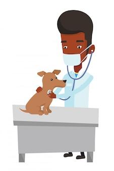 Ilustração em vetor cachorro examinando veterinário.