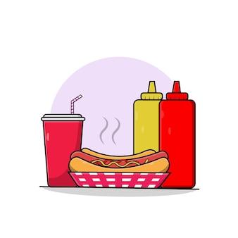 Ilustração em vetor cachorro-quente com molho e refrigerante ícone de cachorro-quente coleção fast-food