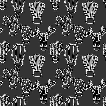 Ilustração em vetor cacto doodle padrão planta exótica