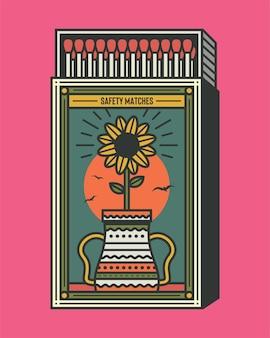 Ilustração em vetor caixa de fósforos retrô e fósforos design de embalagem de caixa de fósforo vintage e legal