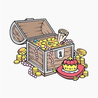 Ilustração em vetor caixa de tesouro clipart de desenhos animados
