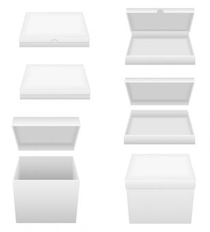 Ilustração em vetor caixa embalagem branca em branco