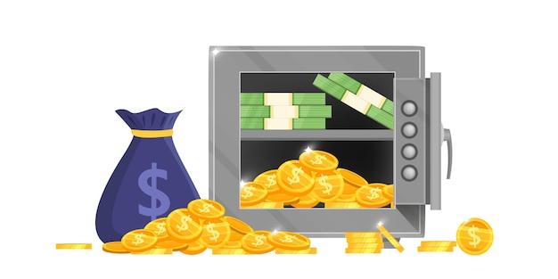 Ilustração em vetor caixa segura de banco aberto com saco de dinheiro, notas de dólar, moedas de ouro, bloqueio seguro isolado no branco.