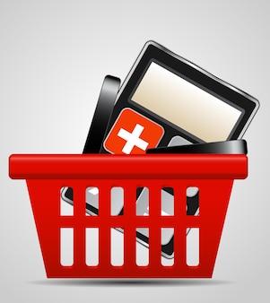 Ilustração em vetor calculadora e cesta de compras
