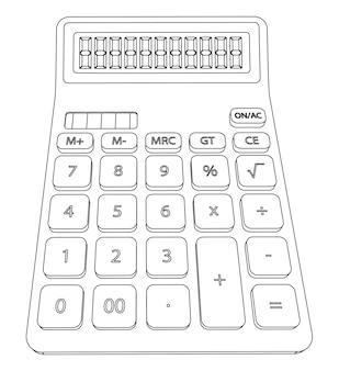Ilustração em vetor calculadora vista frontal, contorno