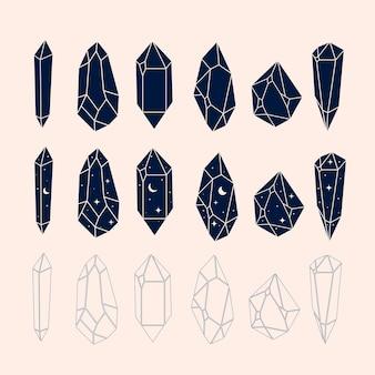 Ilustração em vetor calestial de cristais místicos e mágicos